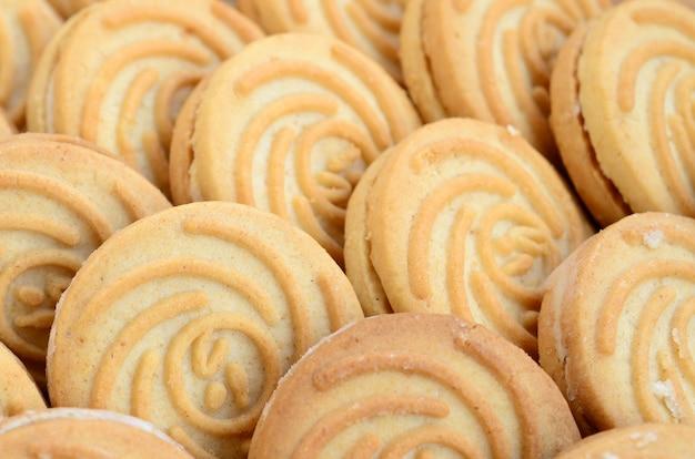 Zbliżenie dużej liczby okrągłych ciasteczek z nadzieniem kokosowym