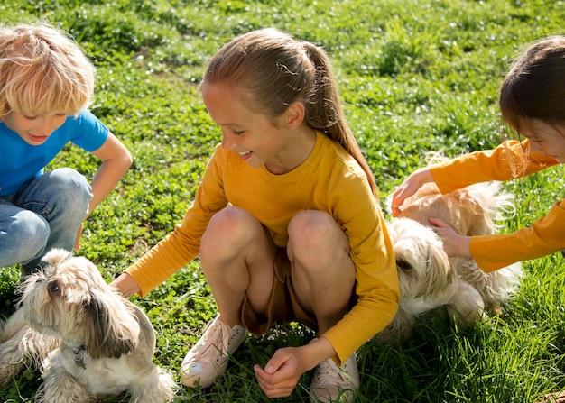 Zbliżenie dzieci bawiące się psami