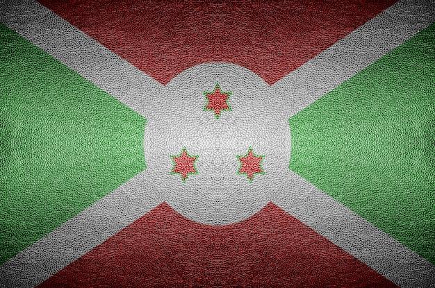 Zbliżenie ekran flaga burundi koncepcja na skórze pcv w tle