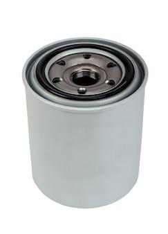 Zbliżenie filtra oleju silnikowego samochodu na białym tle