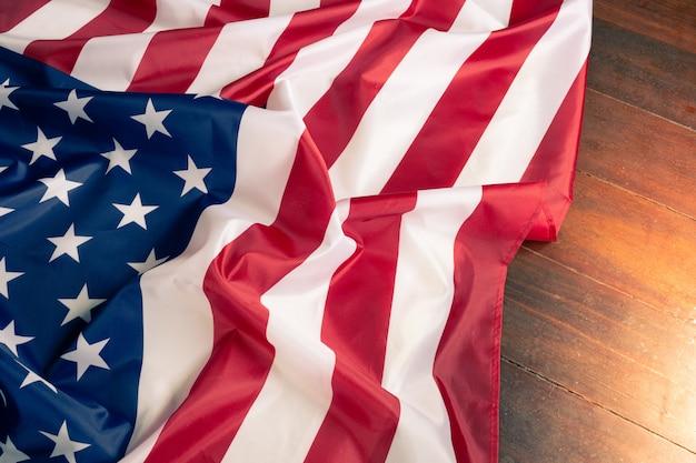 Zbliżenie flagi amerykańskiej tło
