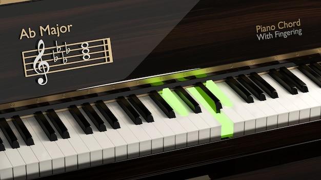 Zbliżenie fortepian z akordem fortepianu ab główny instrument muzyczny klawiatura fortepianu klasyczna nuta harmonia