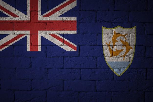 Zbliżenie grunge flaga anguilla. flaga o oryginalnych proporcjach