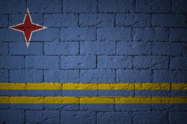 Zbliżenie grunge flaga aruba. flaga o oryginalnych proporcjach