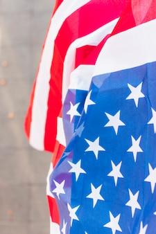 Zbliżenie gwiazdy i paski usa amerykańską flagę
