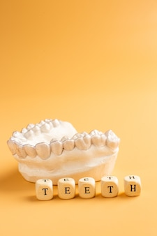 Zbliżenie indywidualna taca na zęby ortodontyczny motyw stomatologiczny. w dłoni niewidoczne szelki