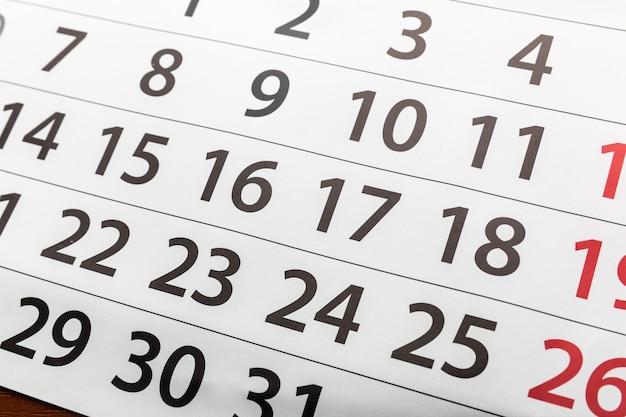 Zbliżenie kalendarza