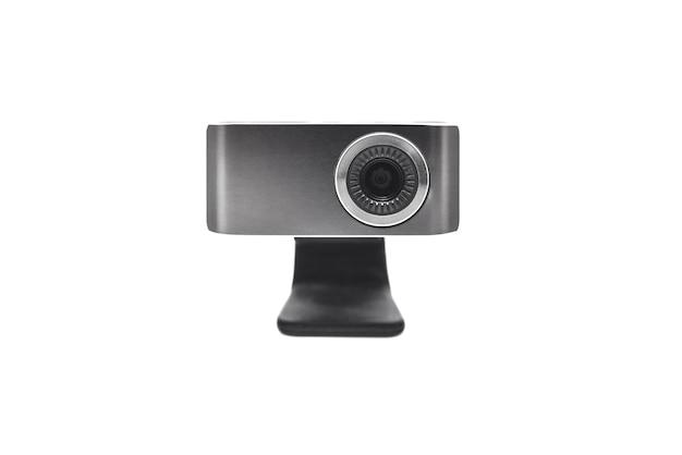 Zbliżenie kamery internetowej na białym tle na białym tle