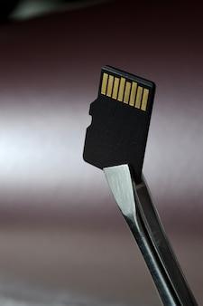 Zbliżenie karty pamięci micro sd na różowym gradiencie