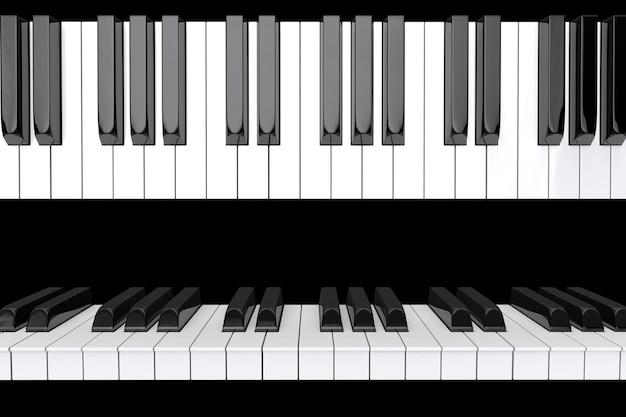 Zbliżenie klawiszy fortepianu na czarnym tle