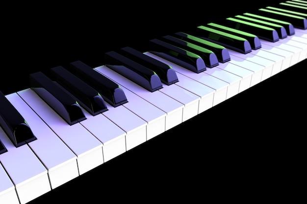 Zbliżenie klawiszy fortepianu w kolorowych światłach na czarnym tle