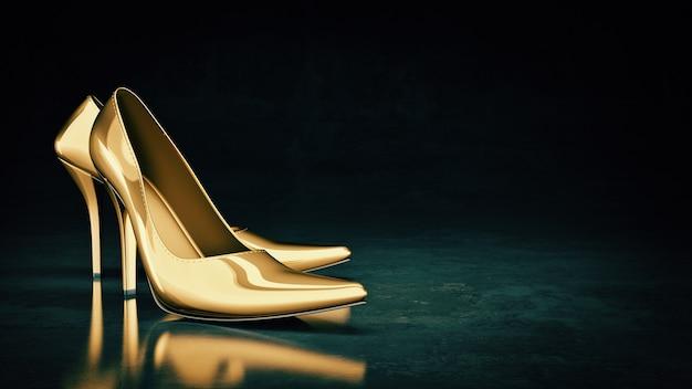 Zbliżenie kobiece buty na wysokim obcasie renderowania 3d