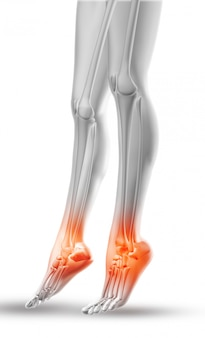 Zbliżenie kobiece nogi z kostkami podświetlone