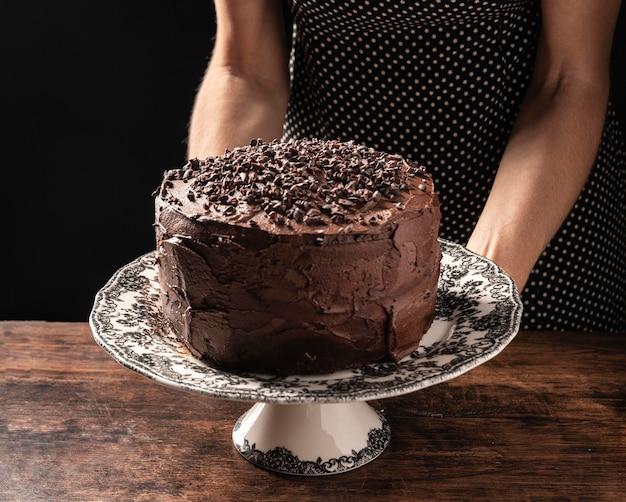 Zbliżenie koncepcji pyszne ciasto czekoladowe