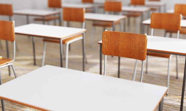 Zbliżenie krzesło studenckie i biurko w tle klasy z na drewnianej podłodze