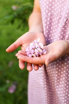 Zbliżenie: kwiat akacji, który odbył się w ręce