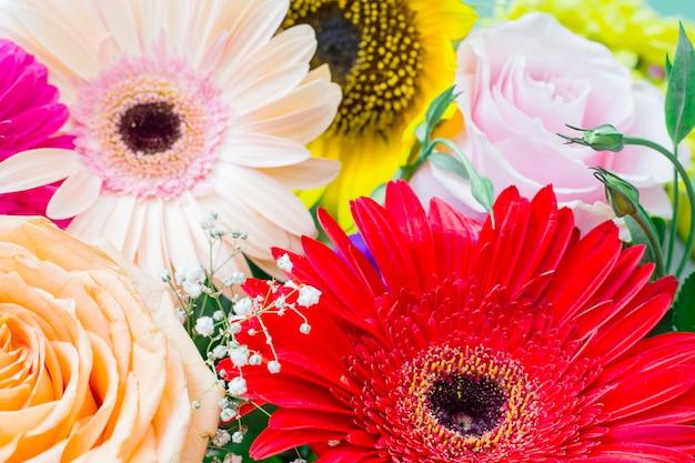 Zbliżenie kwitnących kwiatów gerbera; róża i słonecznik