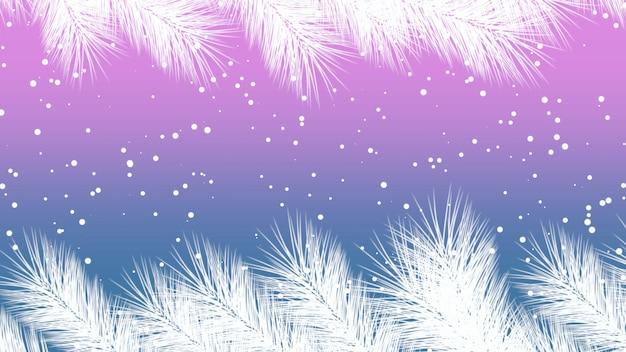 Zbliżenie latać płatki śniegu z błyszczy i boże narodzenie oddział na fioletowym tle wakacje. luksusowy i elegancki szablon stylu ilustracji 3d na ferie zimowe