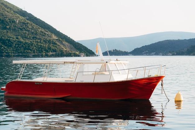 Zbliżenie łodzi motorowych dla przyjemności u wybrzeży perast