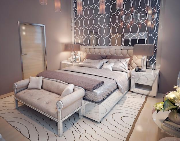 Zbliżenie luksusowej sypialni w stylu art deco