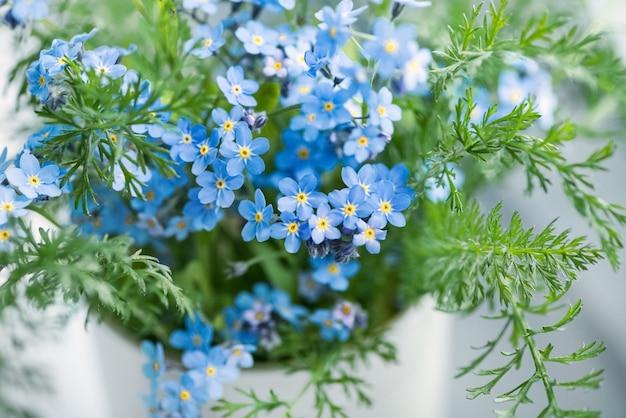 Zbliżenie małych niebieskich kwiatów forgetmenot myosotis sylvatica na zamazanej powierzchni