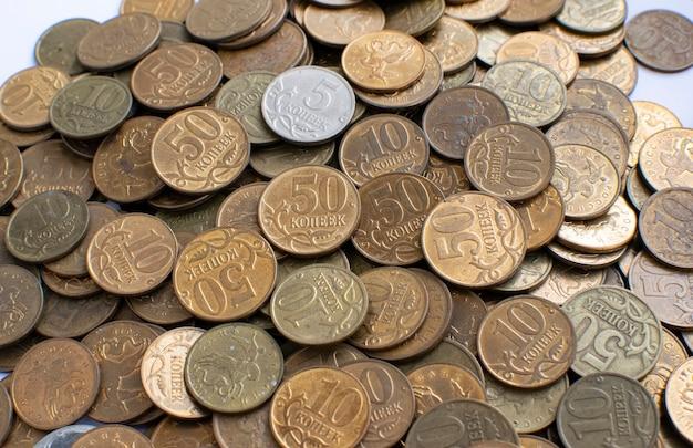 Zbliżenie małych rosyjskich monet