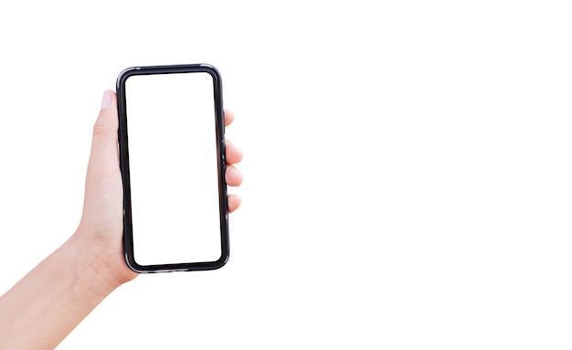 Zbliżenie: męskiej ręki trzymającej smartfon z makietą na białym tle na biały z miejsca na kopię.