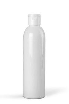 Zbliżenie na białą butelkę na białym tle