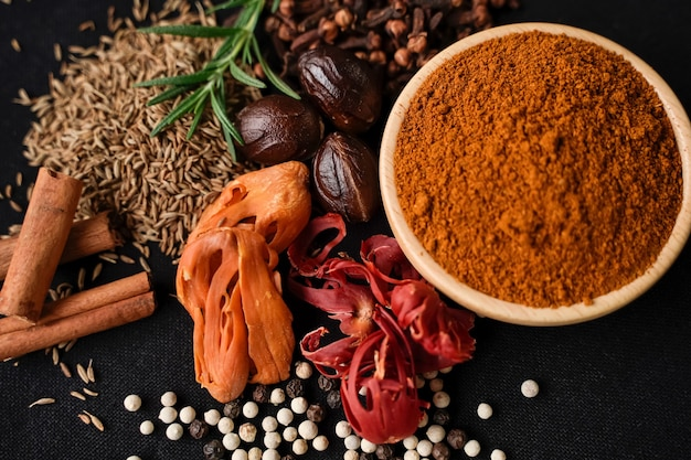 Zbliżenie na curry i przyprawy w drewnianym kubku z czarnym tłem, koncepcja przemysłu