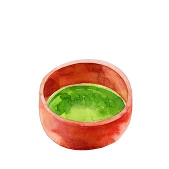 Zbliżenie na czerwony kubek z herbatą matcha na białym tle