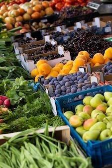 Zbliżenie na dojrzałe i pyszne warzywa