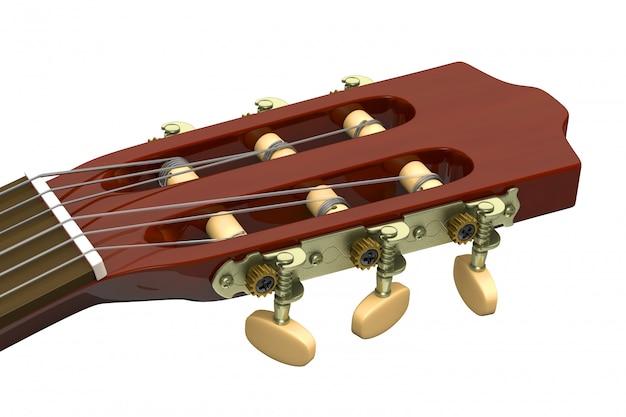 Zbliżenie na główkę gitary klasycznej