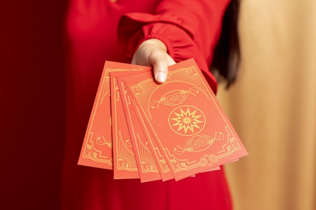 Zbliżenie na karty chiński nowy rok