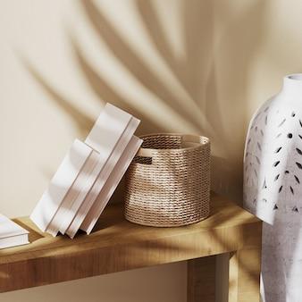 Zbliżenie na książki, wiklinowy kosz i betonowy wazon z cieniem liści palmowych na beżowej ścianie, dekoracja w stylu balijskim, renderowanie 3d