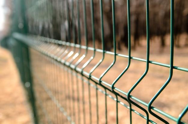 Zbliżenie na metalowe ogrodzenie w przyrodzie