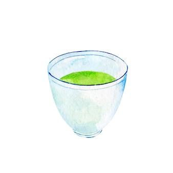 Zbliżenie na niebieski kubek herbaty matcha na białym tle