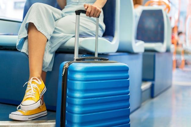 Zbliżenie na nierozpoznawalną kobietę niosącą walizkę, podróżującą pociągiem.