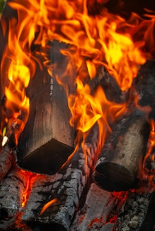 Zbliżenie na palenie drewna opałowego w kominku z miejsca na kopię. może być wykorzystany do twojej kreatywności.