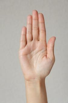 Zbliżenie na piękne gesty rąk na białym tle