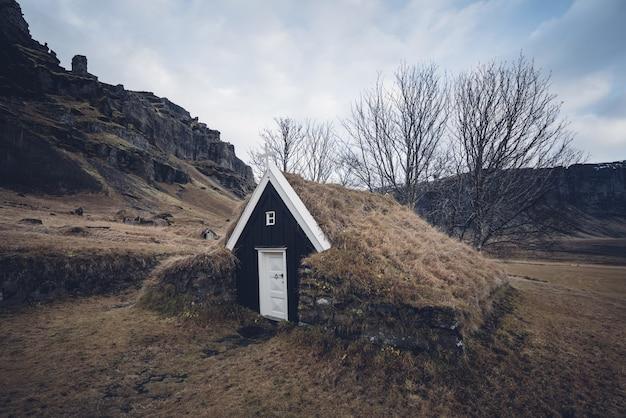Zbliżenie na piękny dom z torfu w trawiastej dolinie w islandii