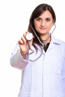Zbliżenie na piękny lekarz za pomocą stetoskopu