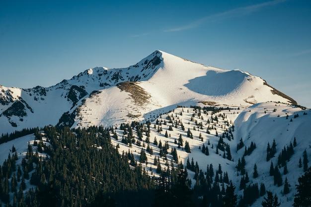 Zbliżenie na pokrytą śniegiem górę