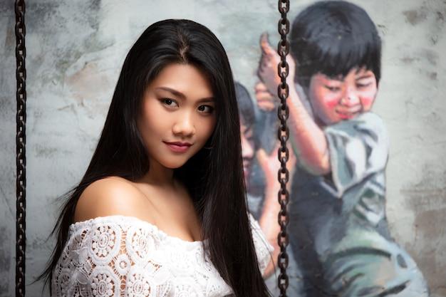 Zbliżenie na portret kobiety azji