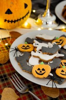 Zbliżenie na pyszne ciasteczka halloween