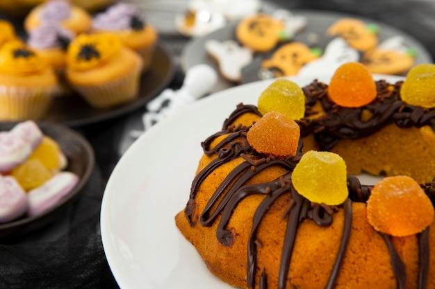 Zbliżenie na pyszne ciasto halloween