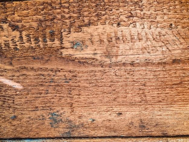Zbliżenie na stare uszkodzone drewniane deski ściany tekstura tło