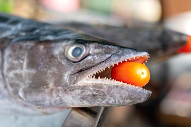 Zbliżenie na zęby barakudy z czerwonym pomidorem. morze świeże barakuda ryb na targu żywności ulicy w tajlandii. koncepcja owoców morza. surowa barakuda do gotowania
