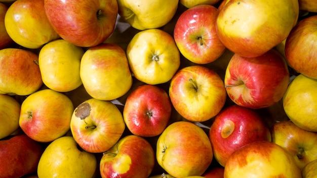 Zbliżenie obraz partii czerwonych i żółtych jabłek na ladzie sklepowej. zbliżenie tekstury lub wzór świeżych dojrzałych owoców. piękne tło żywności