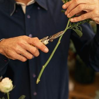 Zbliżenie ogrodnik cięcia pni kwiatów