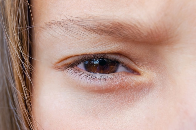 Zbliżenie oka dziewczyny, która uważnie patrzy w przyszłość i czuje strach lub niepokój_